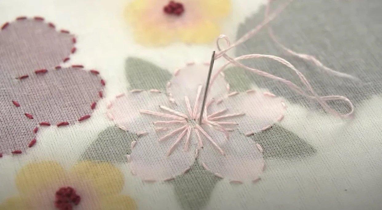 Мастер-класс: как использовать в вышивке искусственные цветы вышивка,мастер-класс