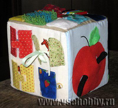 original Как сшить развивающий кубик для малыша