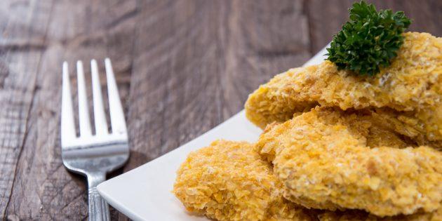 Куриные наггетсы с кукурузными хлопьями от Джейми Оливера