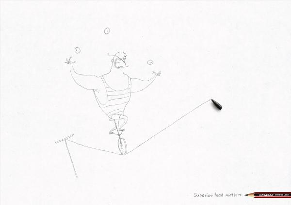 Nataraj Pencils: Tight Rope, Nataraj Pencils, Ogilvy, Печатная реклама
