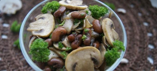 салат с фасолью и шампиньонами рецепт
