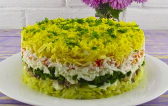 Салат «Аристократ» на праздничный стол из простых продуктов