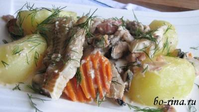 Рыба с морепродуктами в сливочном соусе