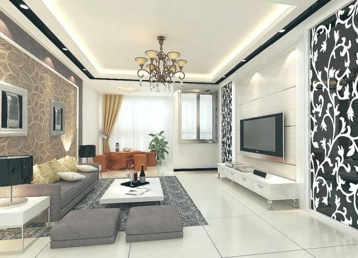 Комната для приёма гостей с акцентными стенами, которые способны освежить интерьер и внести в него нотки эксклюзивности.