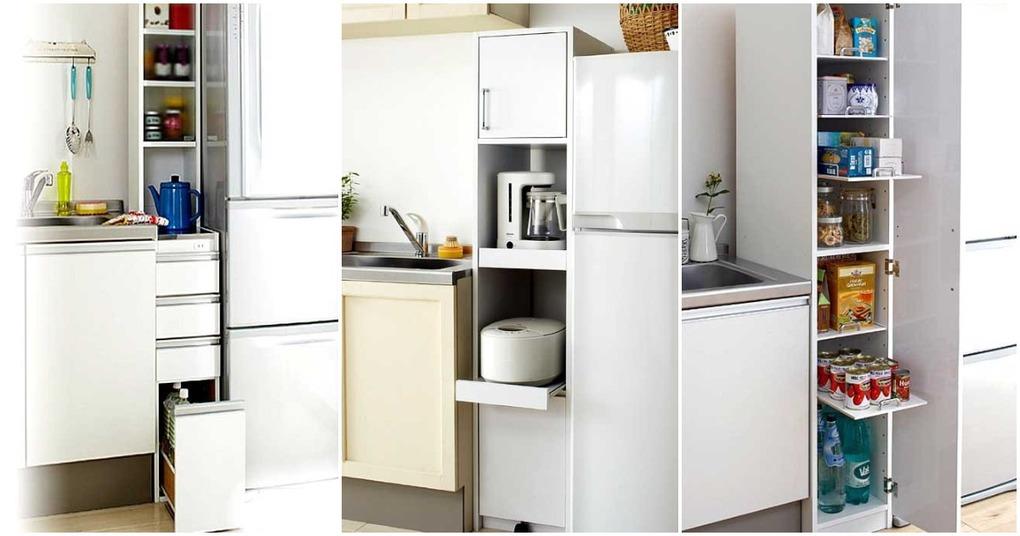 Рациональные идеи, как с умом использовать место у холодильника