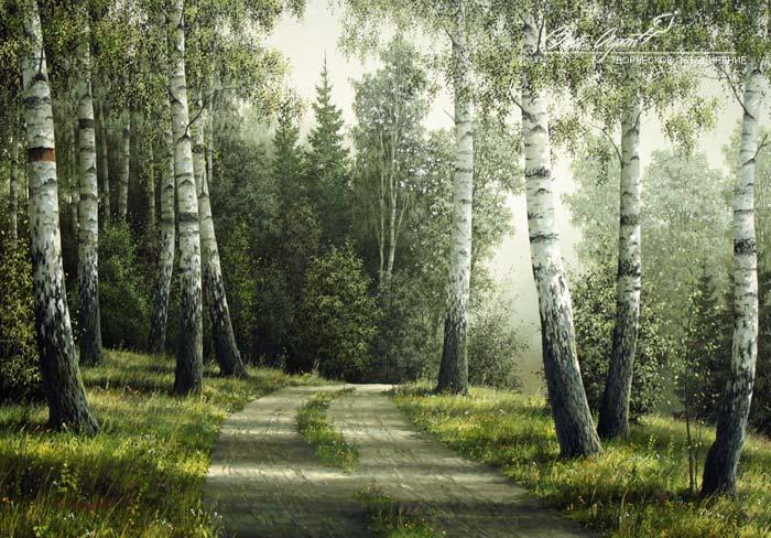 Я любуюсь красой наших русских лесов, художник Владимир Анищенко