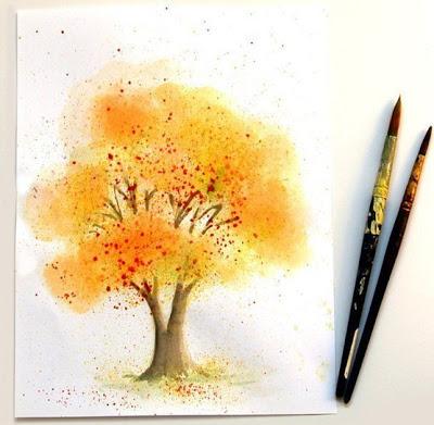 Дерево акварелью