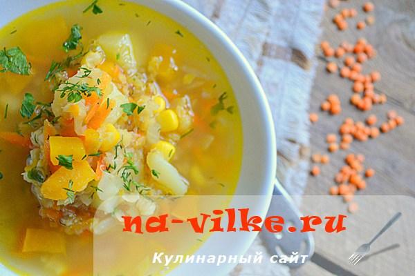 Постный овощной суп с чечевицей