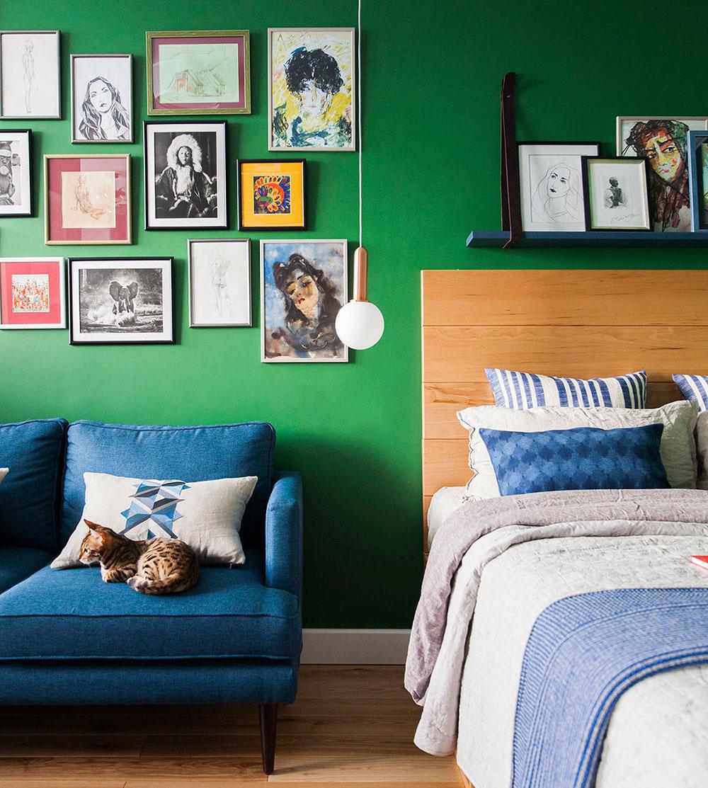 Уютная маленькая квартира в зелёном цвете в Москве