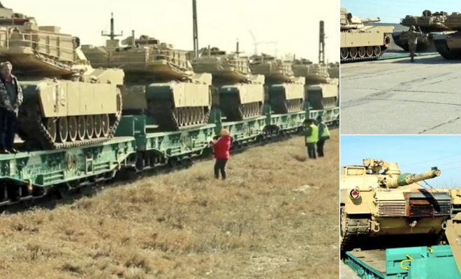 Эшелон «Абрамсов» движется к границам России