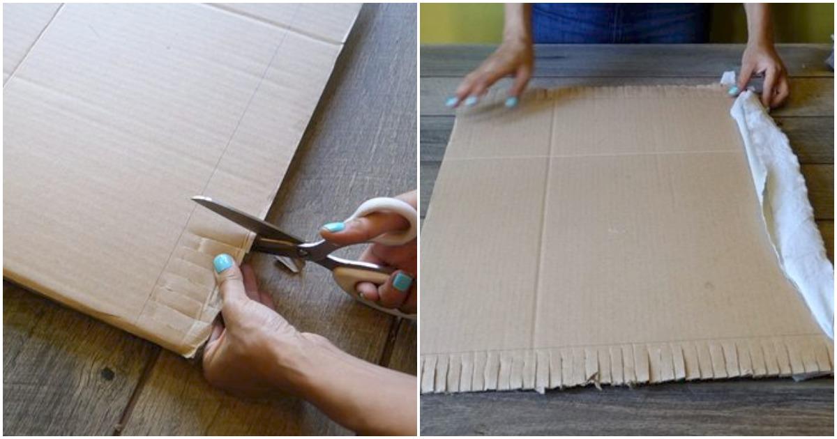Картон и небольшие полоски из ткани помогут сделать стильным ваш интерьер