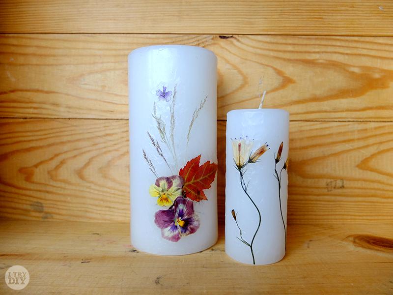 Мастерица придумала оригинальный способ украшения свечи живыми цветами