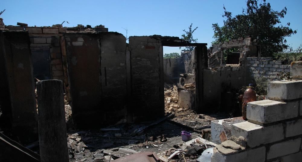 В ходе обстрела уничтожен дом последней жительницы н.п. Желобок в ЛНР
