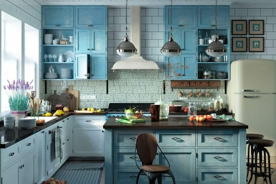 Голубая кухня в стиле прованс: секреты оформления в лазурном оттенке
