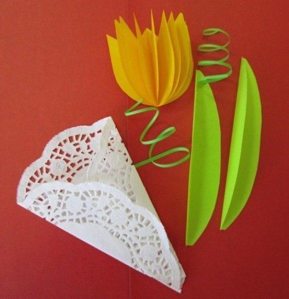 Тюльпан для открытки из цветной бумаги, любовь
