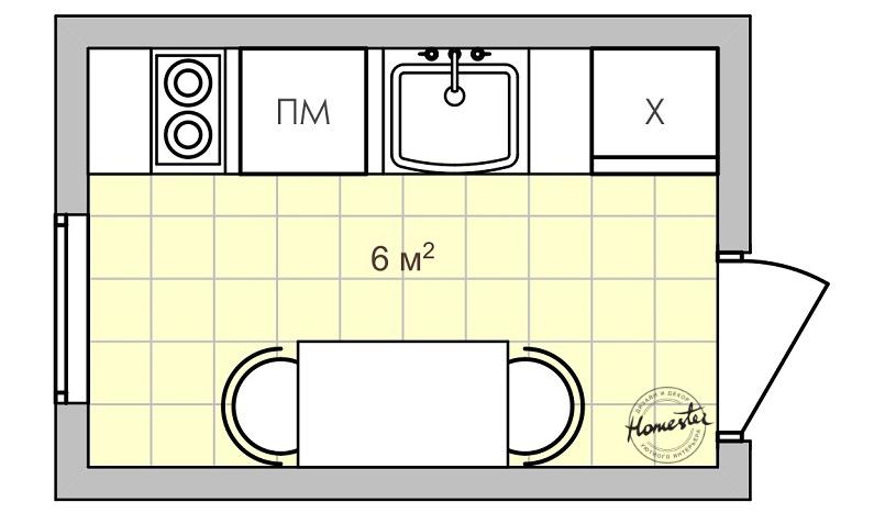 Дизайн маленькой кухни 6 кв. м