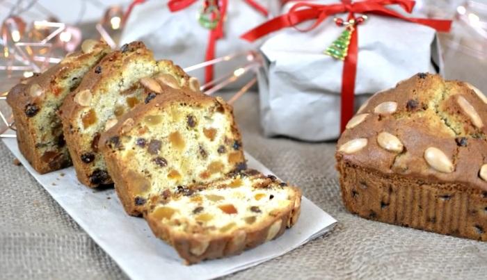 Вкуснейший рождественский кекс с цукатами.