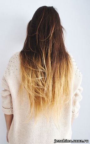 Белое омбре на темных волосах