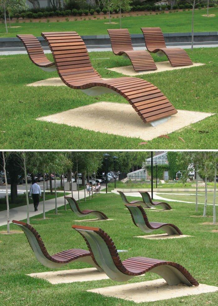 Волнистые скамейки, Сиднейский университет, Австралия в мире, в парке, красота, креатив, лавочка, скамейка, удобство, фантазия