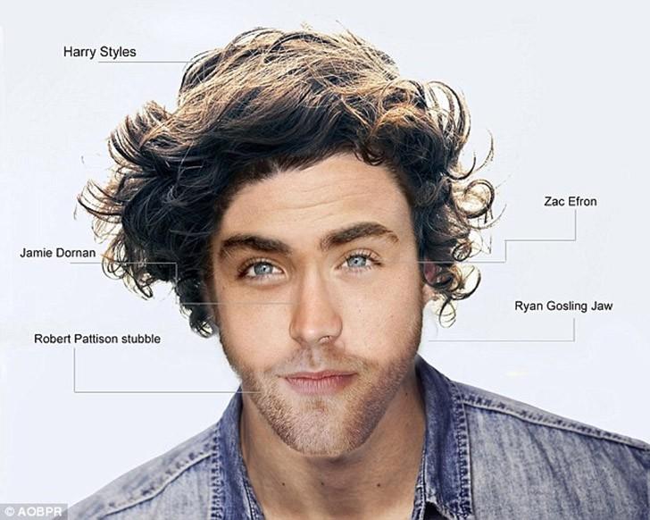 Лицо идеального мужчины, составленное из частей лиц знаменитых красавцев Голливуда