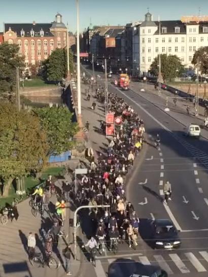Как выглядят пробки в час пик в Копенгагене