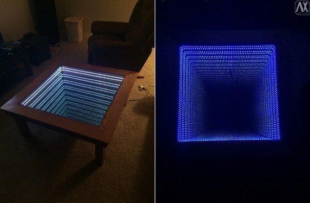 Столик бесконечности из зеркал и подсветки