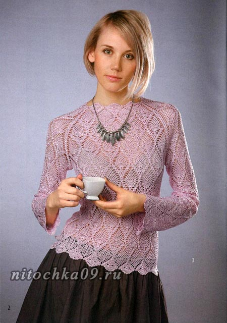 """Розовый пуловер с узором """"ананасы"""""""
