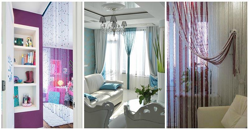 Тончайшие нитяные шторы-кисея: 30 моделей для разных комнат