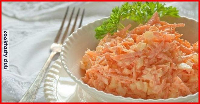 Морковный салат с яйцом к ужину без майонеза