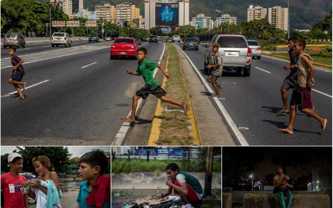 Беспризорные дети на улицах Каракаса