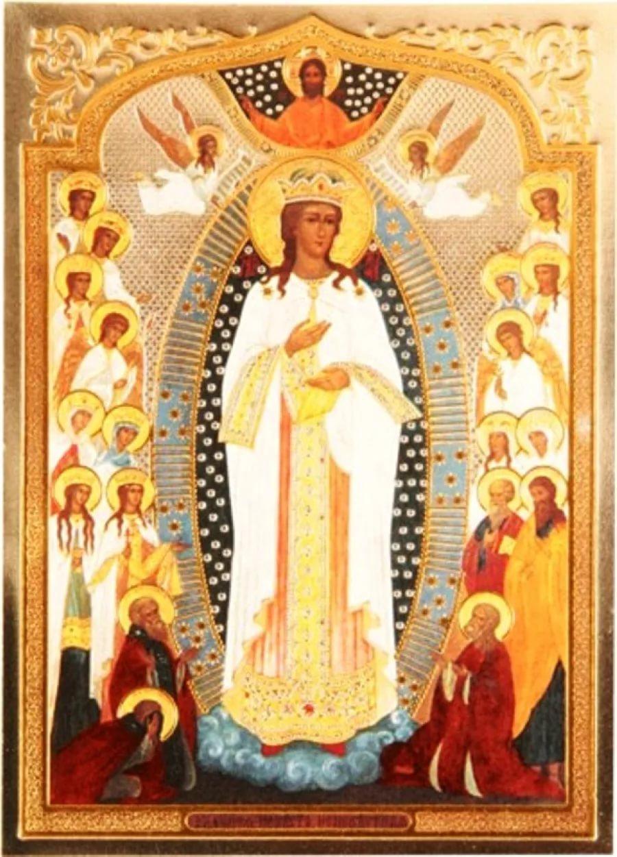 Икона Богородицы, вышитая бисером