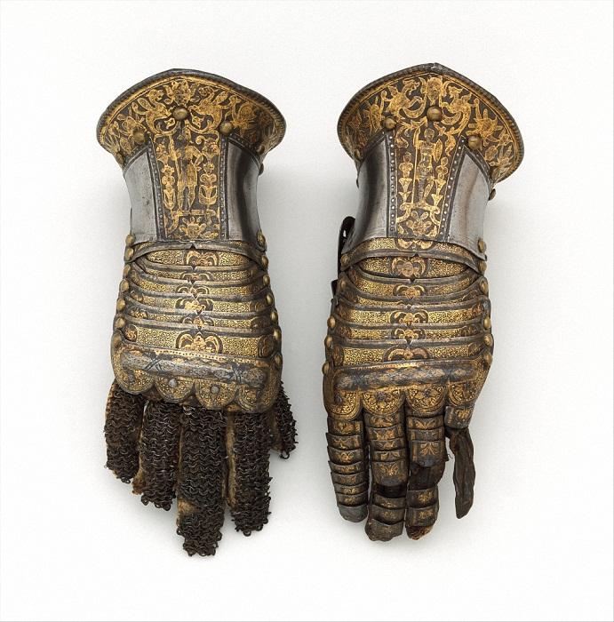 Перчатки Италия Милан 1585 год Сталь, золото, серебро, кожа