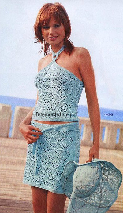 Пляжный комплект нежно-бирюзового цвета