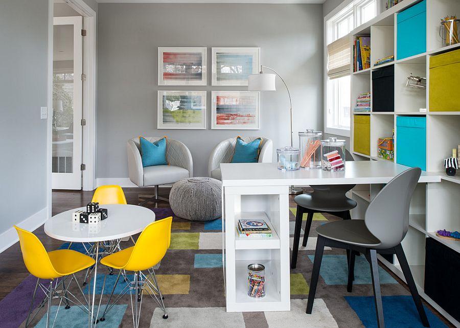 Организация рабочего места дома с яркими элементами дизайна