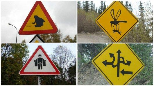 Странные дорожные знаки со всего мира
