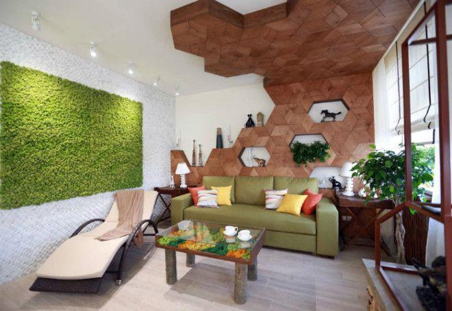 Фантастическая гостиная в стиле эко