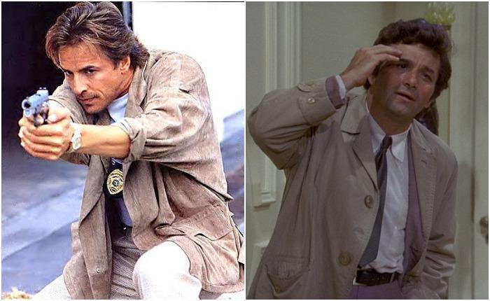 Санни Крокетт из сериала «Полиция Майами: отдел нравов» и лейтенант Коломбо: последний явно не вписывается в традиционные представления о детективе из американского мегаполиса