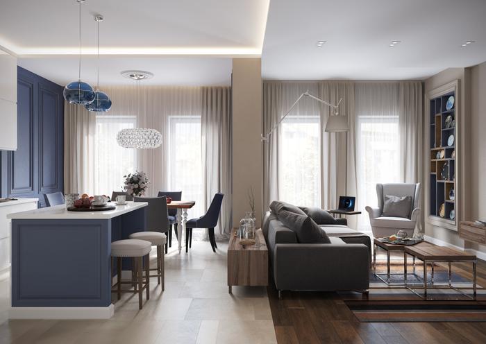 Питерская квартира в пастельных тонах для семьи с ребенком