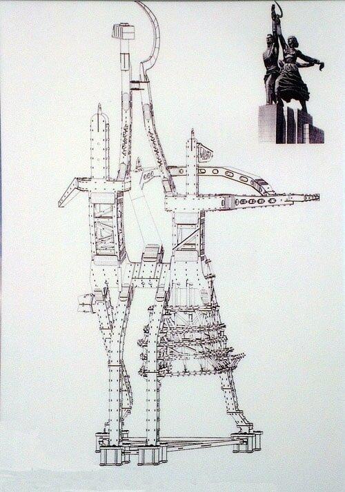 Так выглядит схема каркаса Рабочий и колхозница, внутри, интересно, монумент, статуя