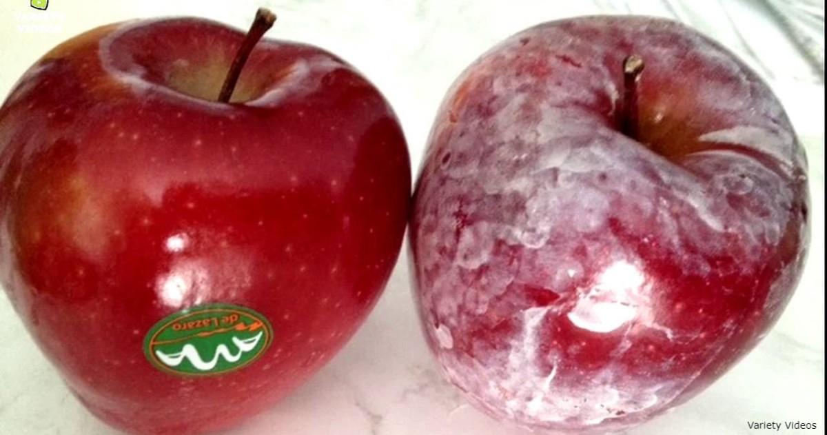 Перед тем, как их есть, проверьте яблоки под горячей водой. Вот что это за налет