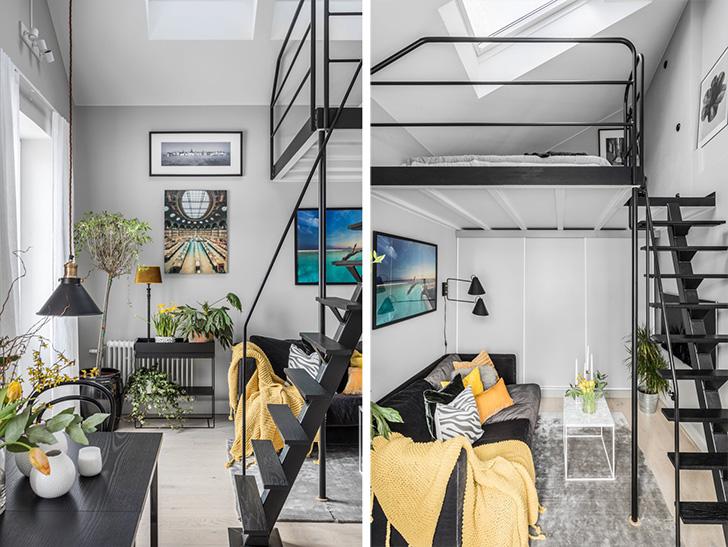 Компактная квартира с антресольной спальней (31 кв. м)