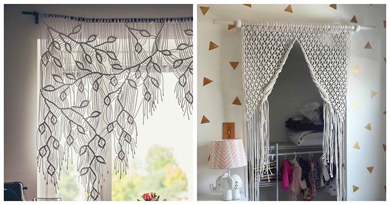 Удивительная идея для дома: невесомые шторы-панно в технике макраме