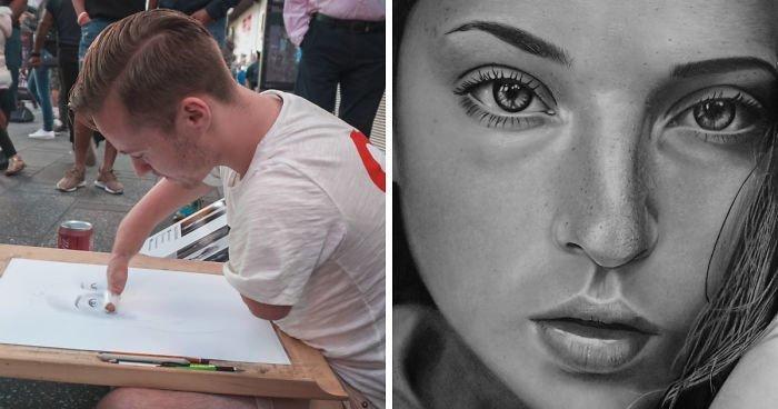 Невероятно реалистичные портреты художника, у которого нет рук