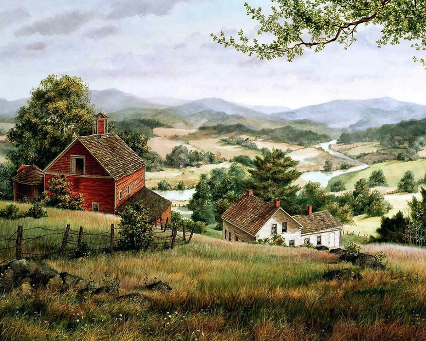 Открытки с сельскими пейзажами, анимационные новому