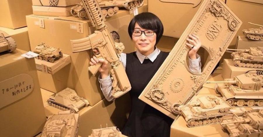 Японский дизайнер создает невероятные 3D скульптуры из картонных коробок