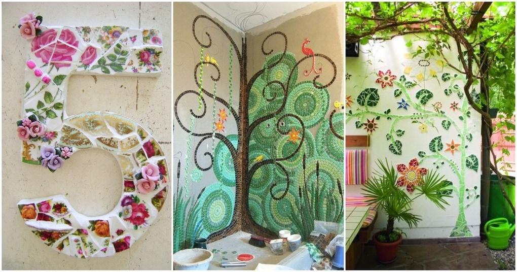 Красочная мозаика из битой плитки: идеи для дома и не только