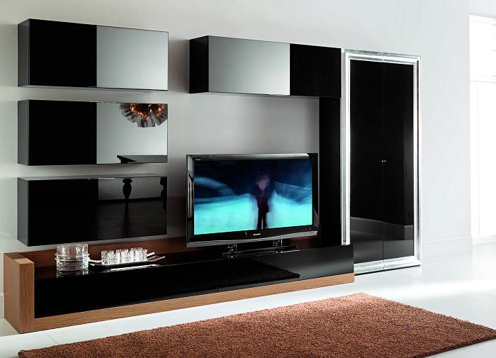 Мебельная стенка в стиле high-tech для оформления современного интерьера.