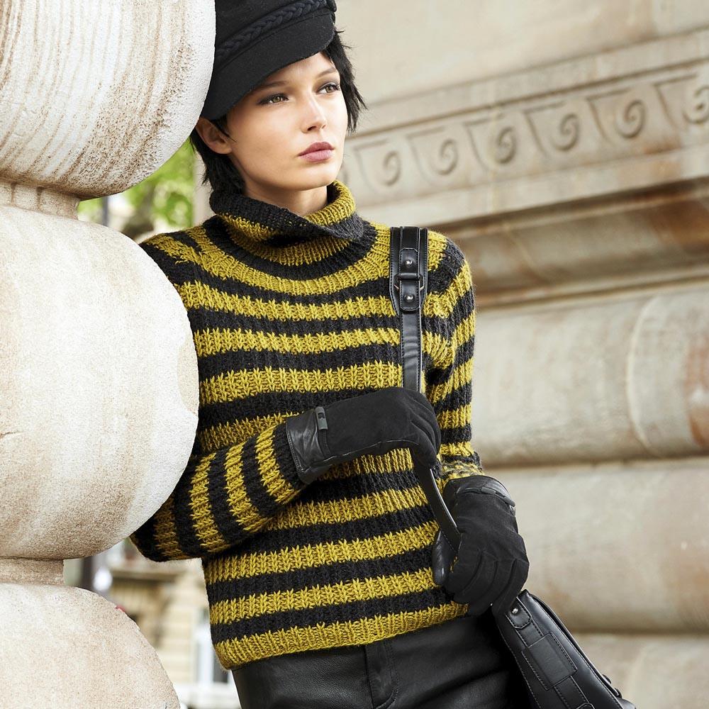 Полосатый свитер с рукавами реглан