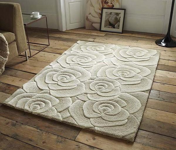 интерьер гостиной с ковром на полу дизайн с тиснением