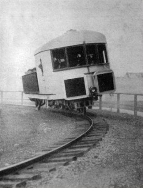 Прототип монорельса гироскопа Луи Бреннана, Англия, 1907 г. вагоны, железнодорожные, изобретения, поезда, рельсы, факты, фантазии